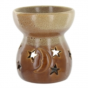Large Moon and Star Oil Burner - Brown/Beige (12cms tall x 10cms wide x 10cms deep)